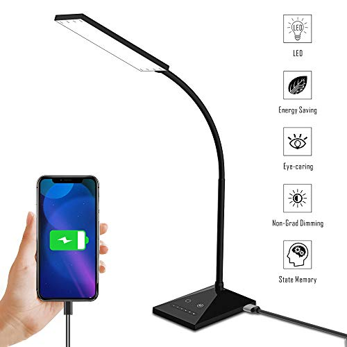 LED Desk Lamp, Aiibe 12W Reading Light Eye-Caring Table Lamps with 5 Modes & 7 Levels of Brightness, Dimmable Book Light with USB Charging Port, Touch Control Office Reading Lamp (Black)