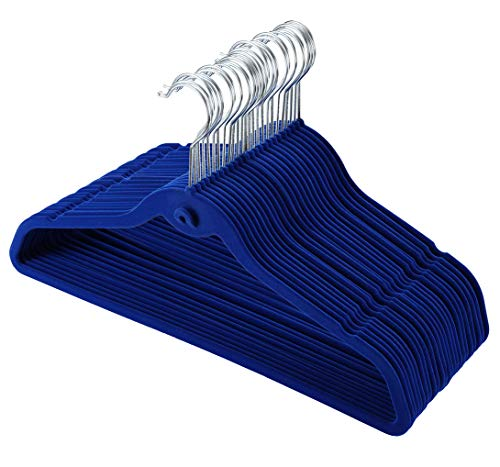 (TQVAI Cascading Velvet Hangers with 360 Degree Swivel Hooks Ultra Thin No Slip, 50 Pack, Navy Blue)