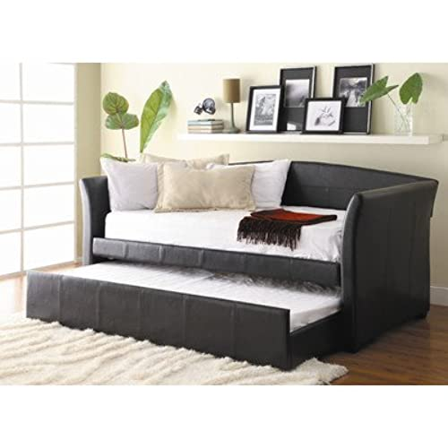 Perfect Homelegance Meyer Faux Leather Upholstered Trundle Daybed, Dark Brown