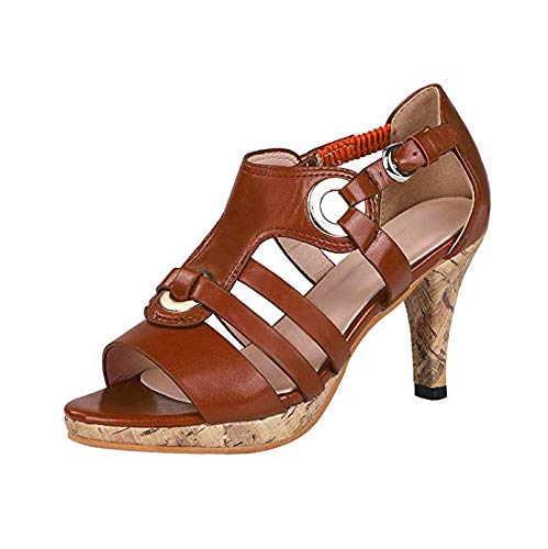 ORANDESIGNE Women's High Heels Sandals Peep Toe Rockabilly Pumps Wedding Shoes Evening Shoes with Heel Retro Roman Shoes Elegant Sandals Brown US 10