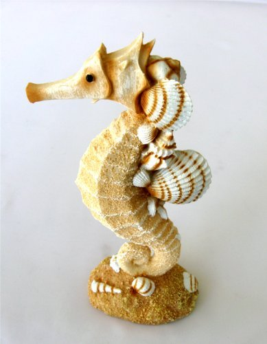 1 X Resin Single Seahorse with Sand and Shells - Beach Decor