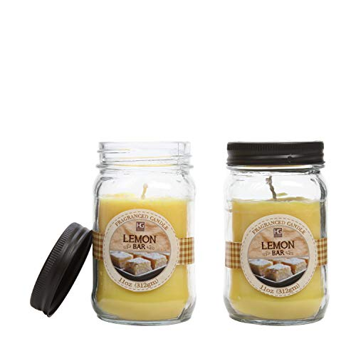Hosley Set of 2 Lemon Bar Scented Mason Jar Candles