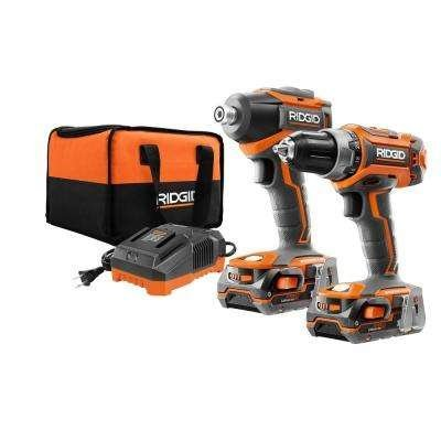 (Ridgid R9603 18V Lithium Ion Cordless Brushless Drill Driver and Impact Driver Combo Kit (2 x 1.5 Amp Hour Batteries, 18V Battery Charger, and Case)