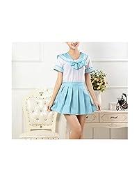 MRxcff-Junior Girls Uniforms Japanese School Uniforms Sailor Suit Tops+Tie+Skirt Navy Style Students School Clothes for Girl
