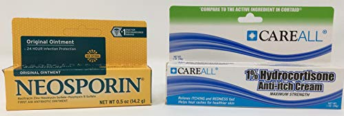 Neosporin Ointment (.5 oz Tube) + Hydrocortisone Cream 1% 1 oz Tube (Compare to Active Ingredients in Cortaid)