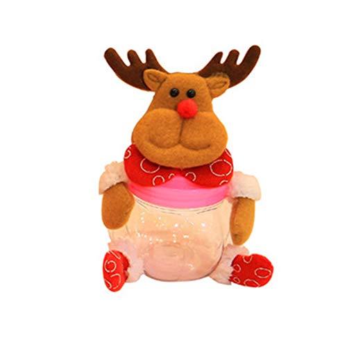 CHoppyWAVE Christmas Candy Box Santa Elk Snowman Bear Jar Container for Kids Gift Decoration - Elk#
