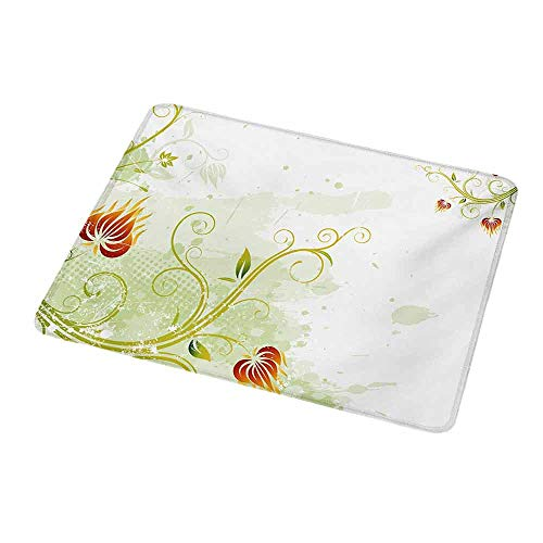 Personalized Custom Gaming Mouse Pad Floral,Swirled Petals Lines on Grunge Background Retro Scroll Botany Design,Pale Green Pistachio Ruby,Personalized Design Non-Slip Rubber Mouse pad 9.8