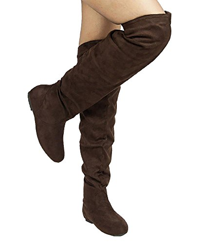 Heel ROOM FASHION Boots Knee Shaft ROF Brown Low TREND Over Hi by the Flat High Thigh OF Slouchy Suede K Premium Women's CwTqw7xZ