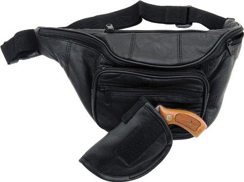 - Genuine Leather Gun Holder Belt Bag - Style LULGH2 (Black)