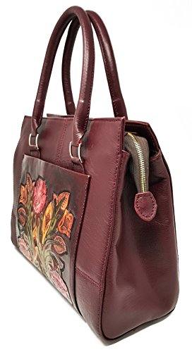 Burgundy Body Top Adelaide Handbag Vintage Cross Designer Gift Leather Artisan Handle Floral for Handmade Women Xq4xq86rw