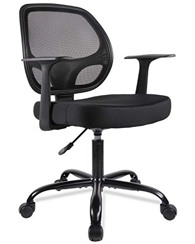Mid-Back Desk Office Chair Task Chair with Armrests – Mesh Back, Swivels (Black)