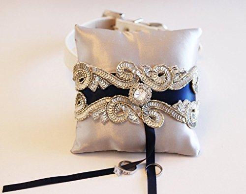 Midnight Blue and Silver Ring Pillow dog Collar, Pet wedding, Ring Bearer Proposal (Wedding Dog Pillow Ring)