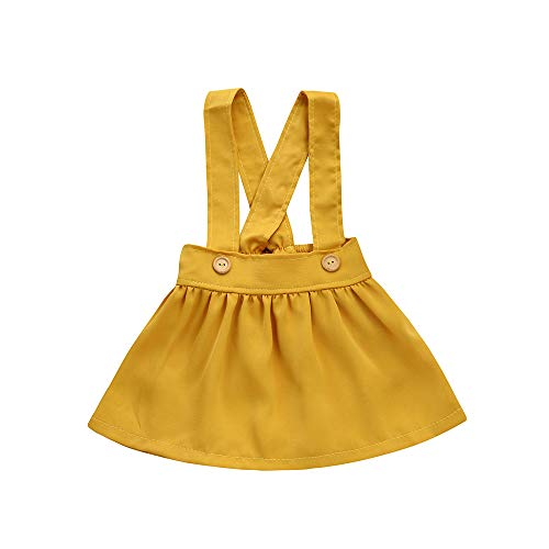 YOUNGER TREE Kids Baby Girls Strap Dress Casual Overalls Jumper Dress Suspender Tutu Mini Skirt (12-18 Months, Yellow Suspender Skirt)