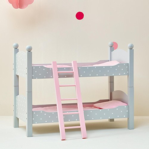 "Olivia's Little World TD-0095AG Polka Dots Princess Doll Bed, Grey, 18"""