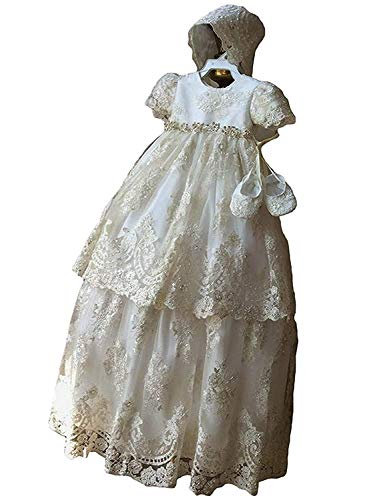 Newdeve Long Baptism Dresses for Baby Girls Christening Gowns Toddler with Bonnet (Ivory, 6-9 Months)