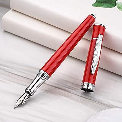Picasso 607 Pluma estilográfica, color rojo, punta fina, borde plateado, patrón de hojas, clip con estuche para bolígrafos: Amazon.es: Oficina y papelería