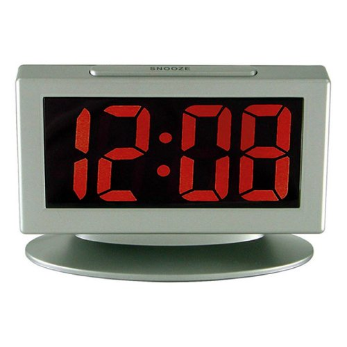 "Advance Time Technology 1.8"" LED Alarm Clock With Red Display, Gray"