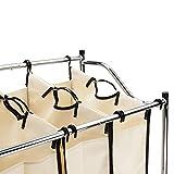 Bonnlo Laundry Sorter 4-Bag Heavy-Duty Rolling