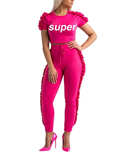 Women Summer 2 Piece Outfits Bodycon Frill Ruffle Jumpsuit Letter Print Crop Top Long Pants Tracksuit Set Rose Red S (Pant Two Suit Piece)