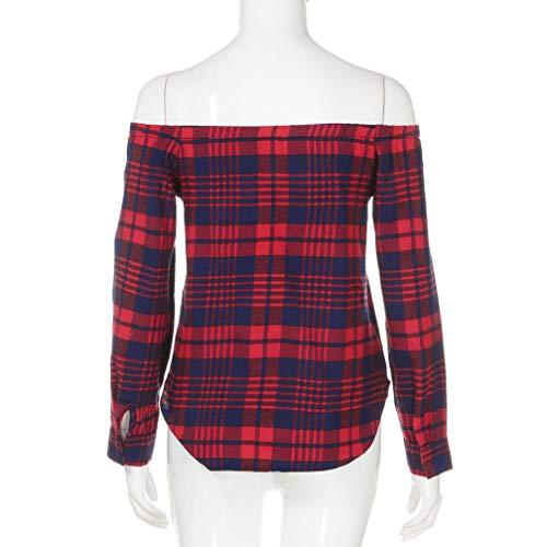 Haut T Sixcup paule Tops Longues dnudes Vin Rouge Chemise Shirt Carreaux Manches Femmes paules Occasionnels Blouse CwOnxwaqg