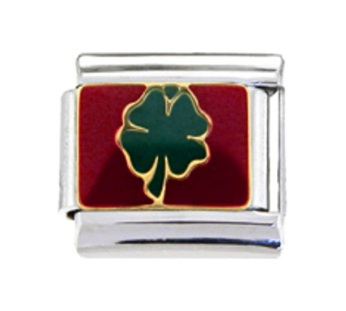 9mm Charm 4 Italian Bracelet - IRISH FOUR LEAF CLOVER LUCKY Enamel Italian Charm 9mm - 1 x NC154 Single Bracelet Link