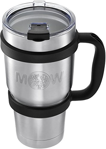 Thermos Tumbler Travel Coffee Mug - 30 oz | TOP Vacuum Insulated Large Stainless Steel Double Wall Cup with Leak Proof Lid & Anti-Slip Handle | PERFECT Cup Set for Keeping Coffee/Tea Temperature