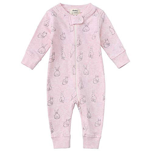 Owlivia Organic Cotton Baby Boy Girl Zip up Sleep N Play, Footless, Long Sleeve(18-24Months,Pink Rabbit)