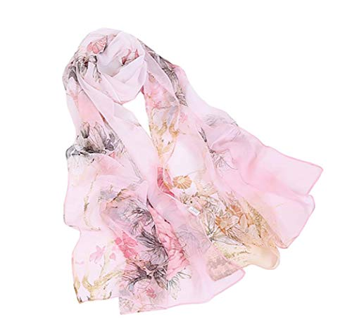 (Women's Silk Feeling Scarf Fashion Scarfs Lightweight Sunscreen Scarves Wraps Shawls for Ladies and Girls (Peony leaves&Pink))