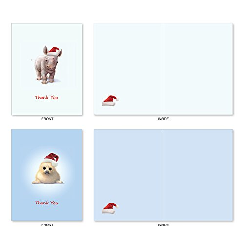 M6726XTB Christmas Zoo Babies: 10 Assorted Blank Christmas Thank You Note Cards Featuring Sweet and Adorable Baby Zoo Animals, w/White Envelopes. Photo #2