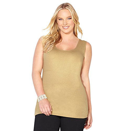 Avenue Women's Foil Nylon Tank, 22/24 Gold