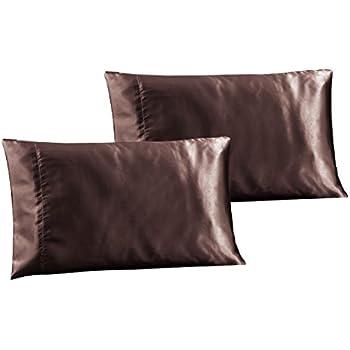 Amazon Com 2 Piece Queen Size Solid Purple Satin Pillow