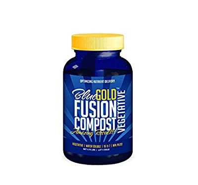 Blue Gold Compost Fusion Vegetative Natural NOP Compliant Water Soluble NPK Fertilizer Paste for Greenhouse Vegetable Flower Rose Garden, Hydro, Lawn, Turf, Tree, Herb, Shrub, Ornamental.