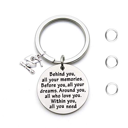 FEELMEM Graduation Gifts Behind You All Memories Before You All Your Dream Graduation Keychain Inspirational Graduates Gifts 2018, 2019 (Graduation Gift)]()