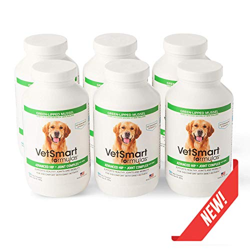 (VetSmart Formulas Advanced Hip + Joint Complex with Green-lipped Mussel - Veterinarian Strength Dog Joint Pain Relief - 6 Bottle Pack)