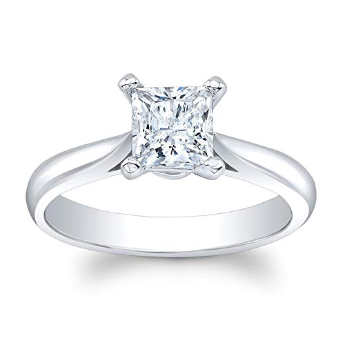 (Women's 14k white gold 2 carat Princess Cut White Sapphire engagement ring)