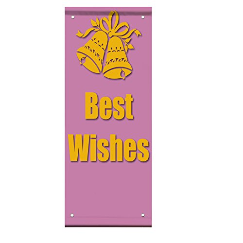 Best Wishes Pink Marriage Engagement Double Sided Vertical Pole Banner Sign 24 in x 36 in w/ Pole Bracket by Fastasticdeals
