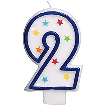 Amscan 2 Flat Molded Candle Birthday Anniversary