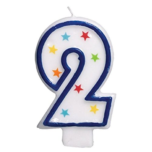 Amscan #2 Flat Molded Candle , Birthday , Anniversary -