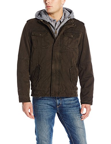 Washed Cotton Hooded Military Jacket,Dark Brown,XX-Large