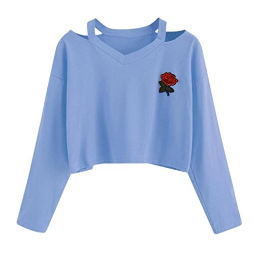 Women Long Sleeve Blouse HGWXX7 Fashion Causal Rose Print Sweatshirt Youth Short T-Shirt Tops Blouse (S, Blue) - Party Youth Sweatshirt