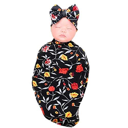 Forthery 2Pcs Newborn Baby Boys Girls Swaddle Blanket Sleeping Wrap+Headband Set (Black) (Ashley Dress In Black)