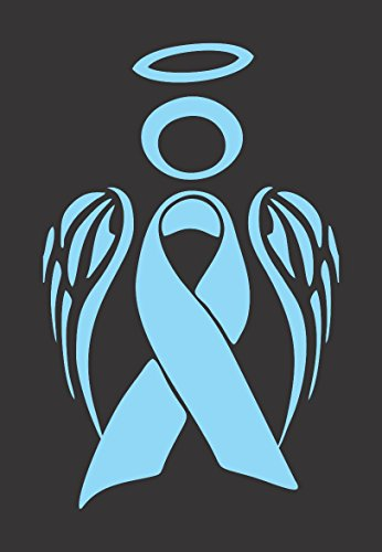 Barking Sand Designs Lt Blue Prostate Cancer Angel Ribbon Awareness - Die Cut Vinyl Window Decal/Sticker for Car/Truck ()