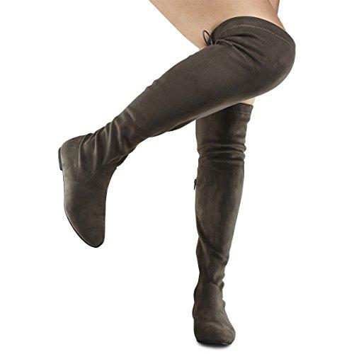 Premier Standard Damenmode Bequeme Vegane Wildleder Blockabsatz Seitlicher Reißverschluss Zurück Spitze Oberschenkel Hohe Overknee Stiefel Taupe