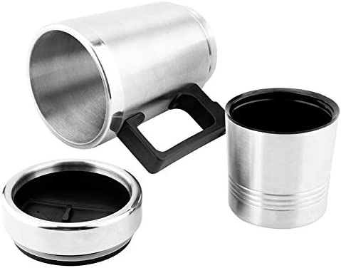 SANON Stainless Steel Car Electric Kettle, Coffee Tea Thermos Water Heating Cup.(12V 350ML + 150ML)