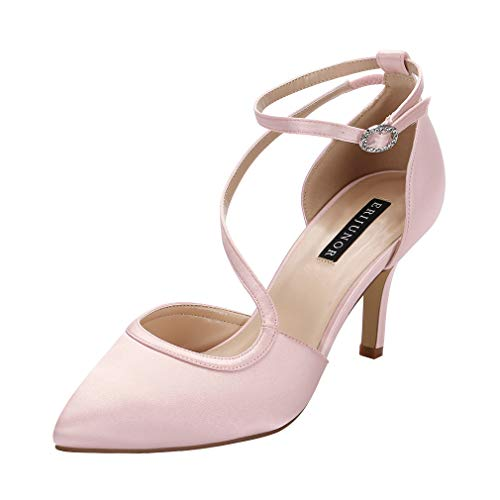 (ERIJUNOR E1706 Women Comfortable Mid Heel Ankle Strappy Dress Pumps Pointed Toe Satin Wedding Evening Party Shoes Blush Size 6)