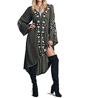 R.Vivimos Women Cotton Embroidered High Low Long Dresses Small Army Green