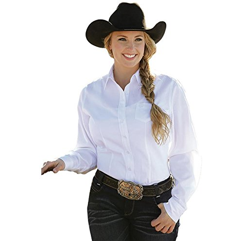 Cinch Women's Solid White Button Down Western Shirt White (Ladies Long Sleeve Western Shirt)