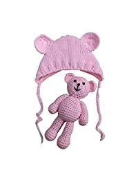 YeahiBaby Newborn Photography Props Cute Knitted Hat Boys Girls Photo Shoot Cap with Crochet Toy Bear (Light Pink)