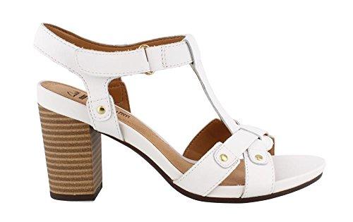 Clarks Women's Banoy Valtina Dress Sandal, White Leather, 9 M US