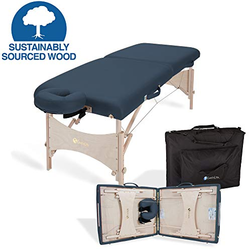 "EARTHLITE Portable Massage Table HARMONY DX - Eco-Friendly Design, Hard Maple, Superior Comfort, Deluxe Adjustable Face Cradle, Heavy-Duty Carry Case (30"" x 73""), Mystic Blue"